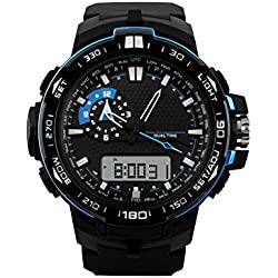 Eastlion Creative Men's Double Display Fashionable Outdoor Mountain Climbing and Diving 50M Depth Waterproof,Shockproof Ajustable Multifunctional Digital Quartz Wrist Watch with Nightlight