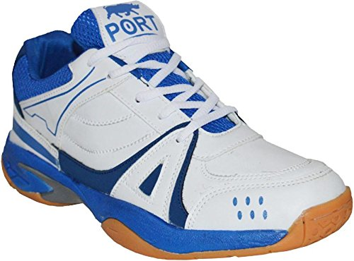 Port Men's Bull Activa White Blue Pu Running Sports Shoes( Size 9 Uk/Ind)  available at amazon for Rs.1299