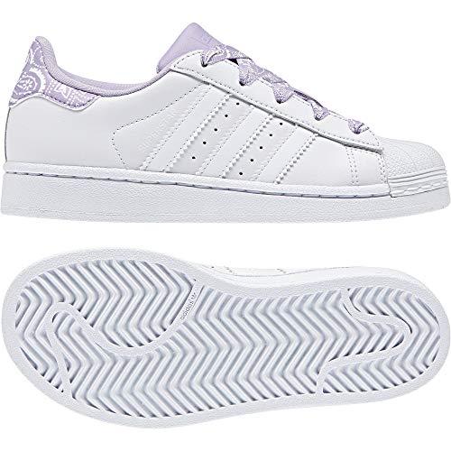 adidas Superstar C, Zapatillas de Gimnasia Unisex Niños, Blanco FTWR White/Purple Glow, 32 EU