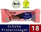 Veganz BIO Protein Choc Bar Strawberry Cake Style ✔ Eiweißriegel Vegan Proteinreich Cremige Erdbeere Schokolade ✔ 18 Vegane Proteinriegel je 50g