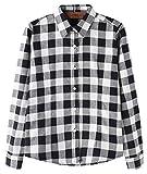 Minakolife Damen Baumwolle Beiläufig Taste nach unten Revers Hals Plaid Kariert Hemd (US Size S, Schwarz Weiss)