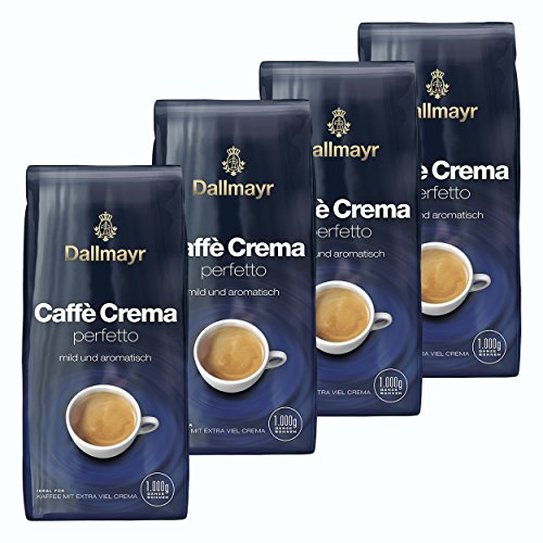 Dallmayr Caffé Crema perfetto, Bohnenkaffee, Röstkaffee, Kaffee, Kaffeebohnen, 4 x 1000 g