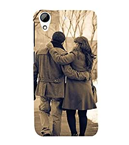 black and white vintage pic of a couple in snowfall 3D Hard Polycarbonate Designer Back Case Cover for HTC Desire 728::HTC Desire 728G