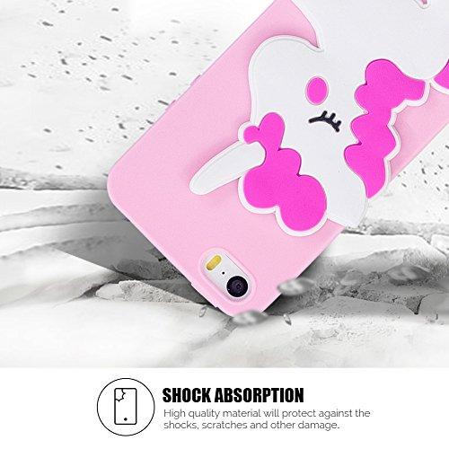 Cover iPhone 5S Spiritsun Case iPhone 5 Custodia iPhone SE Moda Ultraslim 3D Kawaii Diy Soft TPU Case Handy Cover High Quality Case Elegante Souple Flessibile Liscio Copertura Perfetta Protezione Shel Cavallo rosa