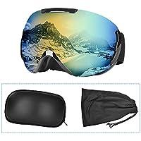 Lunette de Ski, Masque Ski Sphériques avec Double Lentille Anti-buée, Coupe-Vent, Protection UV 100%, Lunettes de Protection de Snowboard OTG Ajustables, Anti-reflets Grand Angle, pour Homme/ Femme