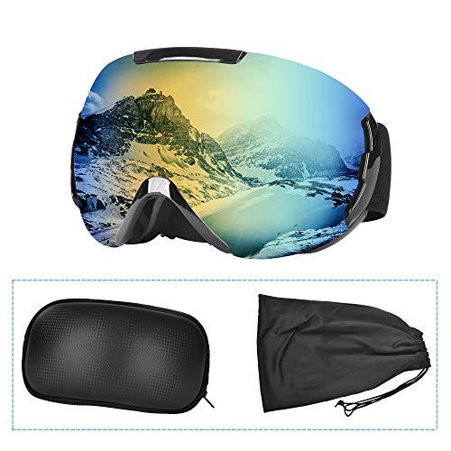Lunette de Ski, Masque Ski Sphériques avec Double Lentille Anti-buée, Coupe-Vent, Protection UV 100%, Lunettes de Protection de Snowboard OTG Ajustables, Anti-reflets Grand Angle, pour Homme/ Femm