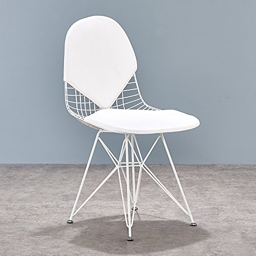 Guter Stuhl GUO Shop- Europäische - Stil Stühle Eisen Sessel Esszimmerstuhl Einfache Kreative Freizeit Stuhl Designer Stuhl Möbel Restaurant, Wohnzimmer (Farbe : Weiß)
