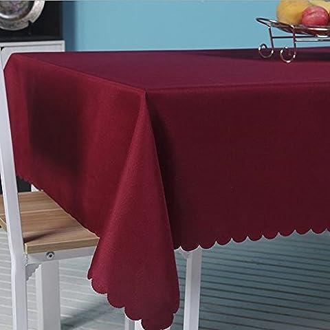 Fanjow® Nappe Polyester Couleur unie Nappe Rectangle Table Cover Nappe anti-débordement pour restaurant de cuisine salle à manger fête Banquet, Polyester, bordeaux, 55