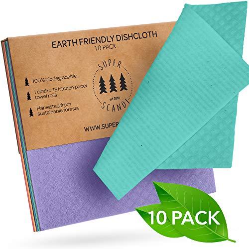 SUPERSCANDI - Paños de Limpieza suecos ecológicos, Reutilizables, sostenibles, biodegradables, esponjas de celulosa, paños de Limpieza para Platos de Cocina, Trapos, toallitas de Papel de Repuesto