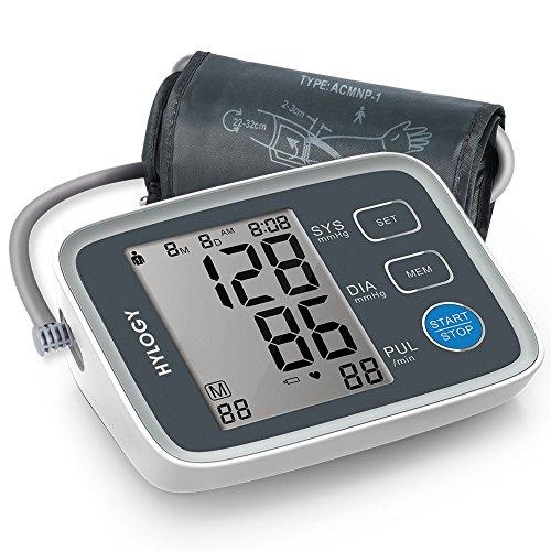Oberarm Blutdruckmessgerät,Hylogy Digital vollautomatisch Professionelle Blutdruckmessgerät und Pulsmessung, Arrhythmie-Erkennung, Standard-Manschette (22cm - 32cm), LCD-Großbild-Display und 2 User-Modus 2 * 90 Speicher