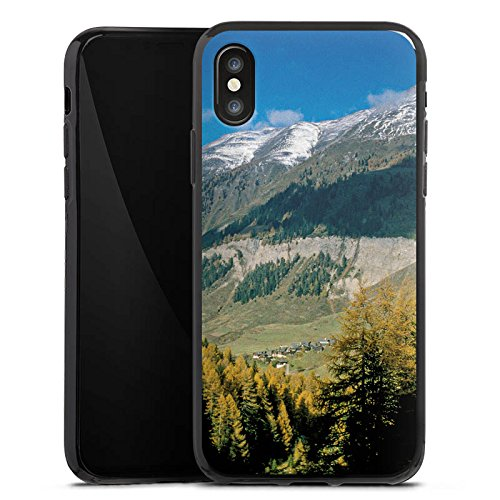 Apple iPhone X Silikon Hülle Case Schutzhülle Gebirge Huegel Landschaft Silikon Case schwarz