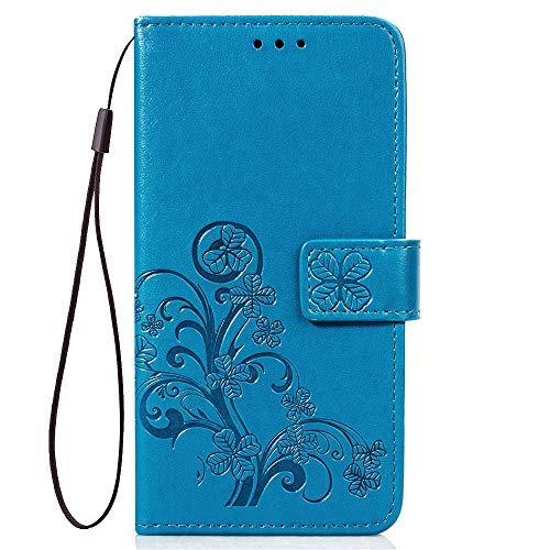 LAGUI Hülle, für Huawei Y7 2019, Schönes Muster Brieftasche Handyhülle. Blau