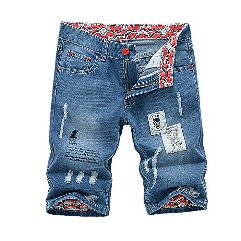 Bold Manner Bermuda Jeans Déchiré Homme Short Denim Mode Patalon