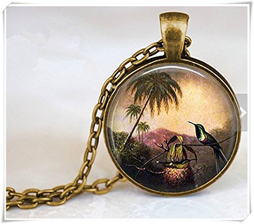 Kolibri auf Nest–Tropical Vintage Druckvorlage von Halskette