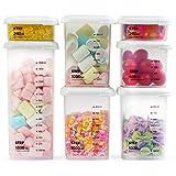 MUHOO Contenitori Alimentari, Set di 7 Plastica Contenitori per la Conservazione degli Alimenti con Coperchi Ideale per zuccheri, Biscotti, Farine, Spaghetti, Cereali e spumanti