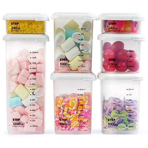 MUHOO Contenitori Alimentari Set di 7 Plastica Contenitori per la Conservazione degli Alimenti con Coperchi Ideale per zuccheri Biscotti Farine