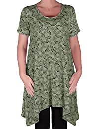 EyeCatch - Faith Womens Long Tunic Flared Uneven Hem Print Ladies Short Sleeve Top Plus Sizes 14 - 28