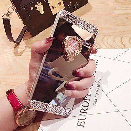 iPhone 6S liquide Coque, iPhone 6Coque Bling, iPhone 6s 11,9cm Coque paillettes, CE iPhone 6S 6Luxe Bling Paillettes Diamant Fluide 3d Creative Quicksand Housse, iPhone 6s Coque [avec anneau Béquil 6# Mirror Diamond Ring 3