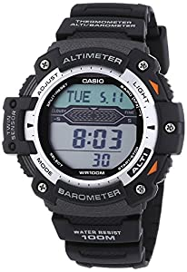 Gents Casio chronograph watch with plastic/resin strap. This watch features an altimeter, barometer, thermometer, countdown timer, 5 daily alarms, LED light. CASIO    L'histoire de Casio : Véritable groupe horloger, CASIO arrive sur le marché de la m...