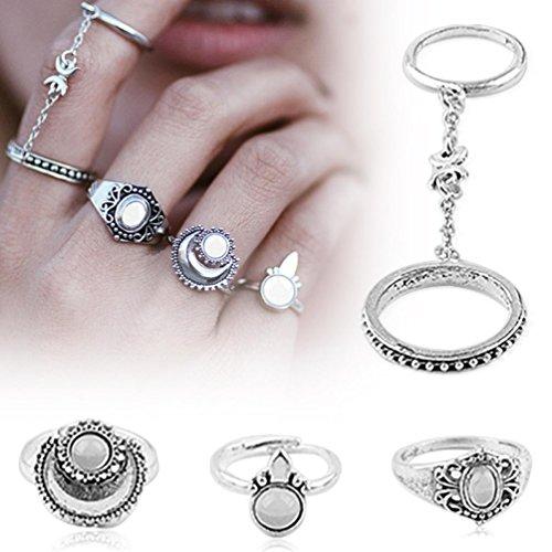 JACKY 5pcs Women's Silver Boho Stack Plain Above Knuckle Ring Midi Finger Tip Rings Set