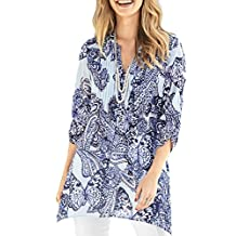 TopsandDresses Ladies Blue Butterfly Long Tunic Top UK Sizes 8-22