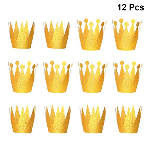 Amosfun 12pcs glitter birthday crown hats party cappelli princess prince crowns per bambini e adulti decorazioni per feste