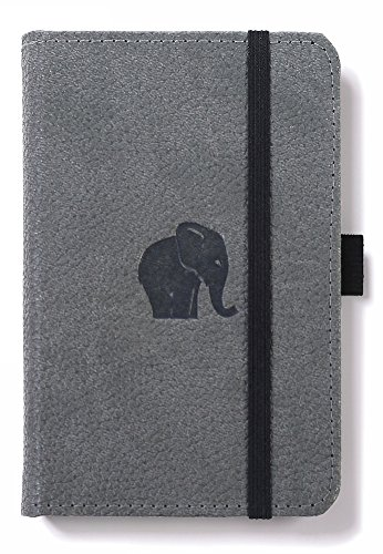 Dingbats D5423GY Wildlife A6 Pocket Hardcover Notizbuch, Gepunktet Grauer Elefant
