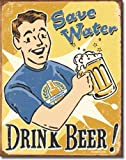 Desperate Enterprises Save Water Drink Beer–Antiguo Cartel de Chapa...