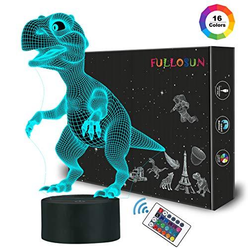 Illusion-Nachtlicht 3D, LED-Tisch-Schreibtisch-Lampen, Dinosaurier-Nachthimmel, 16 Farben USB-Lade, die Schlafzimmer-Dekoration für Kinder Weihnachten Halloween-Geburtstagsgeschenk beleuchten