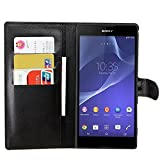 Tasche für Sony Xperia T2 Ultra (6 zoll) Hülle, Ycloud PU Ledertasche Flip Cover Wallet Case Handyhülle mit Stand Function Credit Card Slots Bookstyle Purse Design schwarz