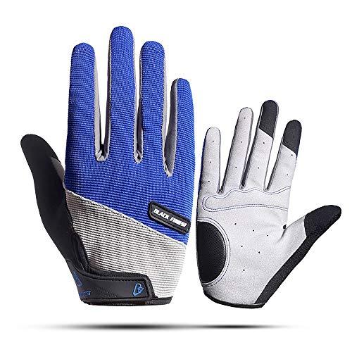 COZOCO Unisex Männer Frauen Sporthandschuhe Outdoor Reithandschuhe rutschfeste Stoßdämpfung Tragen Mitten(blau-3,XL)