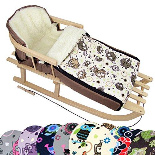 BambiniWelt Kombi-Angebot Holz-Schlitten mit Rückenlehne & Zugseil + universaler Winterfußsack (108cm), auch geeignet für Babyschale, Kinderwagen, Buggy, aus Wolle im Eulendesign (Eule $5)