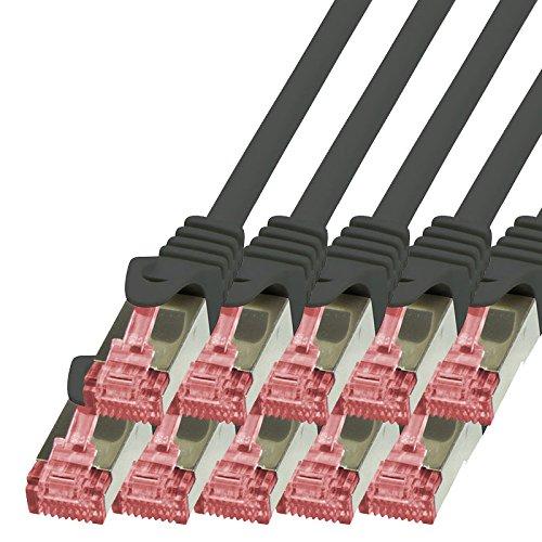 BIGtec - 10 Stück - 0,15m Netzwerkkabel Patchkabel Ethernet LAN DSL Patch Kabel Gigabit schwarz ( 2x RJ-45 Anschluß , CAT6 , doppelt geschirmt ) 0,15 Meter