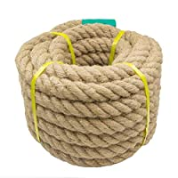 Aoneky Jute Rope - 20/25/30/40mm Heavy Duty Twisted Natural Hemp Rope for Garden, Tug of war, Nautical, Cat Scratching Post, Chandelier, Climbing Hammock and DIY Art Ideas for Decorate (20mm / 30m)