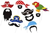 Genérico - Pirate Party Photo Accessories - 12 Colorful Props on a Stick - Birthday paty Photo Booth Props by roxan