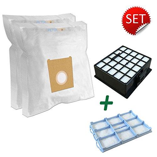 SPARPAKET - HEPA Filter + Motorschutzfilter + 10 Staubsaugerbeutel geeignet Für SIEMENS: VS... Serie, VZ153HFB, Z3.0, VS06G1668/03 campus compressor, Typ VBBS625V00, FD9108, VS06G26XXL/03 (Campus-tüte)