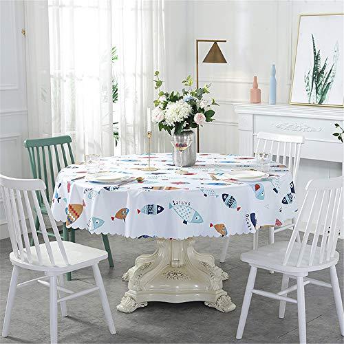 DHHY PVC Runde Tischdecke Gedruckt Wasserdicht und Ölbeständig Home Hotel Dekoriert Tischdecke F Durchmesser 180 cm