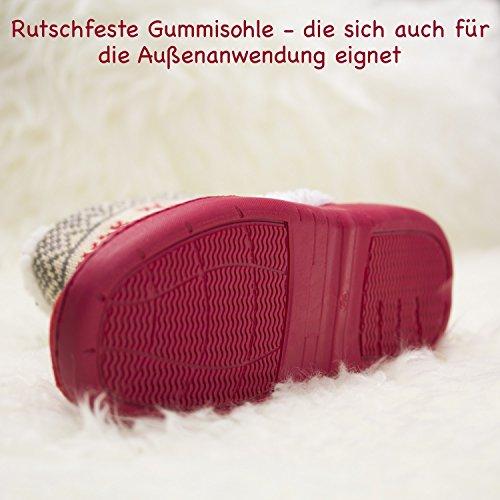 Pantofole Urhome® Unisex Per La Scarpetta Antiscivolo Invernale Suola Antiscivolo Pantofola Pantofola Per Gli Ospiti Fodera Per Uomo E Donna Rosso Pelliccia