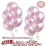 Hoshin Palloncini di coriandoli oro rosa, palloncini grandi da 18 '(45,7 cm) Palloncini in lattice trasparenti rosa dorato per matrimoni, proposte, decorazioni per feste di compleanno (10 pezzi)