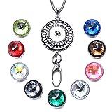 Soleebee 80cm Edelstahl Kette ID Kartenhalter Lanyard Click Button Halskette Passend Schlüssel, ID Abzeichenhalter mit 9 Stück 60-Facetten Kristall Glas Click Button (Strass Rad)