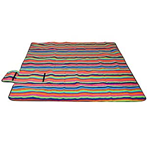 """sourcingmap 79""""x79"""" Extra-large Water Resistant Picnic Blanket Sleeping Mat Rug for Camping Beach Outdoor Travel (Dazzle Colorful Stripe)"""