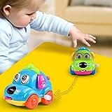 Dontdo Cute Cartoon Running Car Wind Up Toy Clockwork Classic Baby Toddler Kids Toy - Random Color