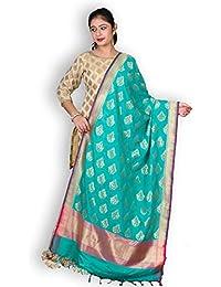 Green & Pink Banarasi Silk Dupatta With Zari Weave