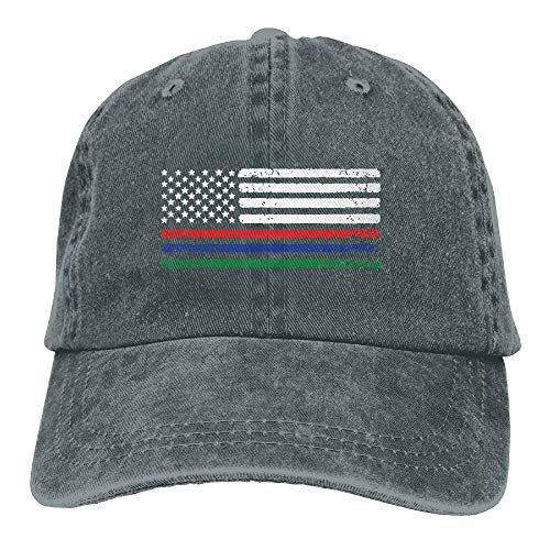 Thin Red Blue Green Line American Flag Denim Jeanet Baseball Cap Adjustable Hip-hop Cap
