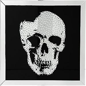 Kare Bild Frame Mirror Skull, Glas, Schwarz, 4.5 x 100 x 100 cm