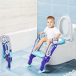 RuiDaXiang Siège de Toilettes pour 1 à 7 enfants, Reducteur de Toilette Bébé Siège de Toilettes Ajustable, Chaise pour Enfants avec Echelle Antidérapante (Bleu)
