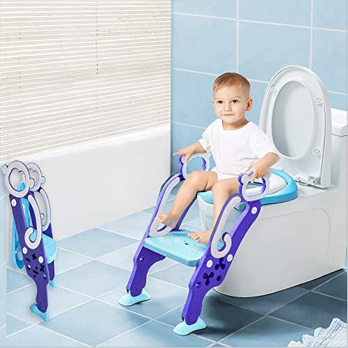 Toilettentensitz kinder, LADUO Kinder Toiletten-Trainingssitz mit rutschfester Trittleiter-Leiter, justierbarer Töpfchen-Sitz mit Schritt, Toilettensitz-Stuhl, für Kleinkinder,und Jungen, Mädchen - Extra Breiter Falt -