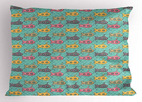Wamnu Submarine Pillow Sham, Colorful Cartoon Submarines Under The Sea Nautical Fun Pattern for Kids Nursery, Decorative Standard Queen Size Printed Pillowcase, 30 X 20 inches, Multicolor -