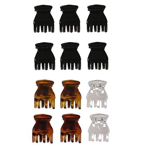 Lot de 12 Mini Pinces Crabe en Plastique - Marron / Noir / Transparent - Accessoire Cheveux Coiffure