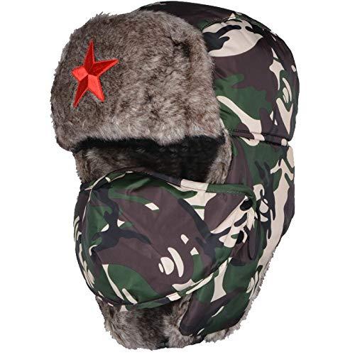 AFASSW Nach Camouflage Bomber Hüte Männlich Red Star Armee Lei Feng Hat Winter Warm Gehörschutz Cap Herren Wind Maske Cap B-5